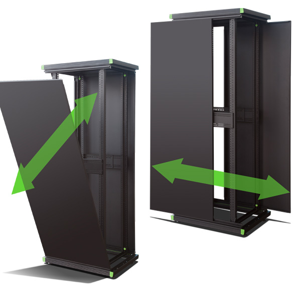 Retex RetO Racks have side panels that can be removed in two ways