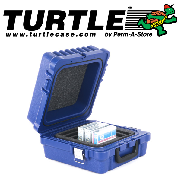 77-TC-WTR-RDX-10 is a splashproof Turtle Case with 10 capacity for LTO, DLT or RDX tapes