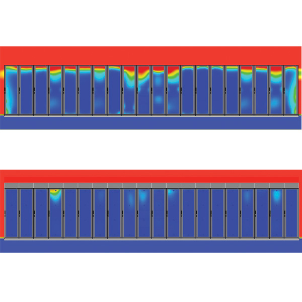 AisleLok Baffles CFD modelling of before (top) & after (bottom) installation of the rack top baffles