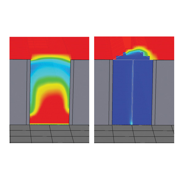 CFD modelling before & after installation of AisleLok Bi-Directional End of Aisle Doors