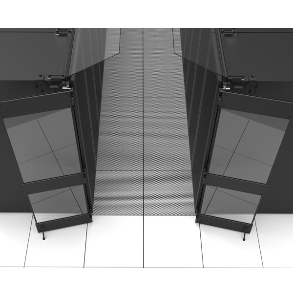 Built-in kick stands allow AisleLok Bi-Directional Doors to remain open.