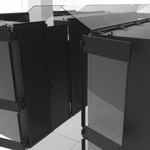 AisleLok Adjustable Rack Gap Panel installs between two racks