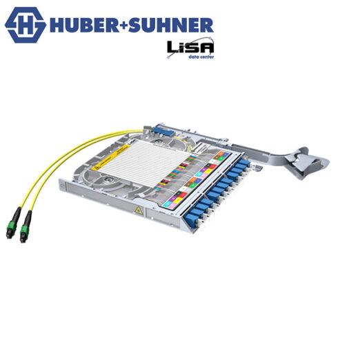 HUBER+SUHNER LISA Fibre Tray 12 x LCD, 2 x MTP12 P, UPC, OS2 - Part No. 85086075