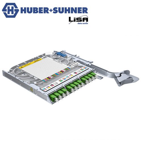 HUBER+SUHNER LISA Fibre Tray 12 x LCD OS2 APC Specific DIN Code - Part No. 85088058