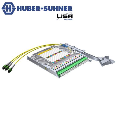 HUBER+SUHNER LISA Fibre Tray 18 x LCD, 3 x MTP12 P, APC, OS2 - Part No. 85088080