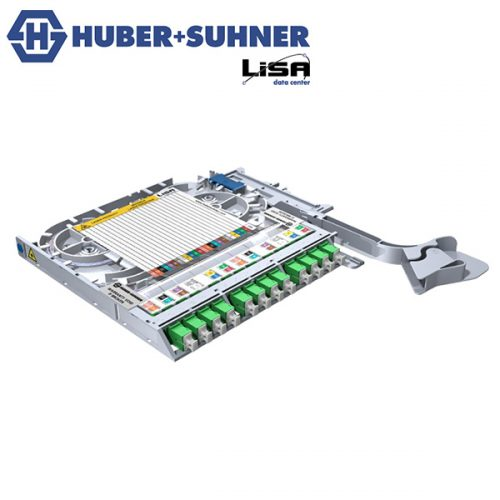 HUBER+SUHNER LISA Fibre Tray 12 x SC OS2 APC DIN - Part No. 85088495