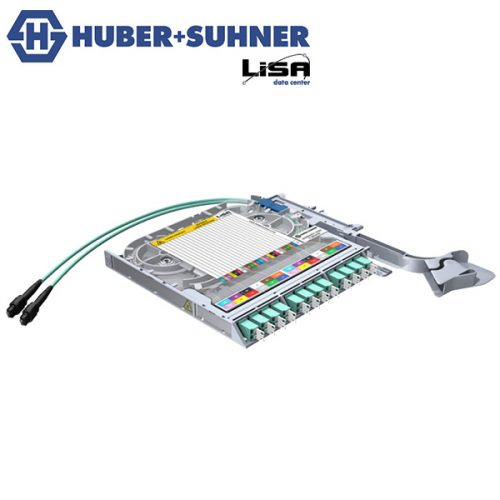 HUBER+SUHNER LISA Fibre Tray 12 x LCD, 2 x MTP12 P, PC, OM3 - Part No. 85088661