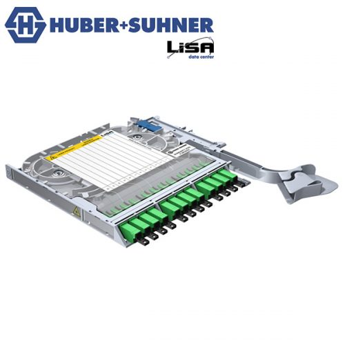 HUBER+SUHNER LISA Fibre Tray 12 x LSH E2000 OS2 APC DIN Code - Part No. 85093251