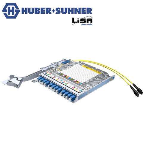 HUBER+SUHNER Right Hand LISA Fibre Tray 12 x LCD, 2 x MTP12 P, UPC, OS2 - Part No. 85111132
