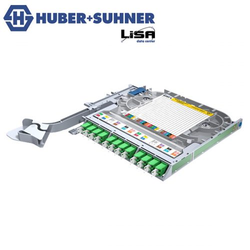 HUBER+SUHNER Right Hand LISA Fibre Tray 12 x LCD OS2 APC DIN Code - Part No. 85111138