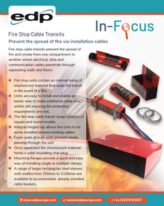 Fire Stop Cable Transits prevent the spread of fire and smoke where cables penetrate walls and floors