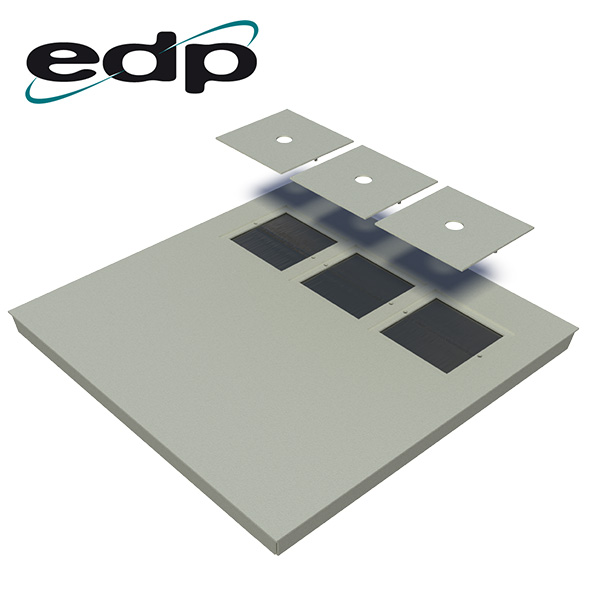 EDP Europe's 3-Port Brushed Raised Floor Tile - Ports Uncovered