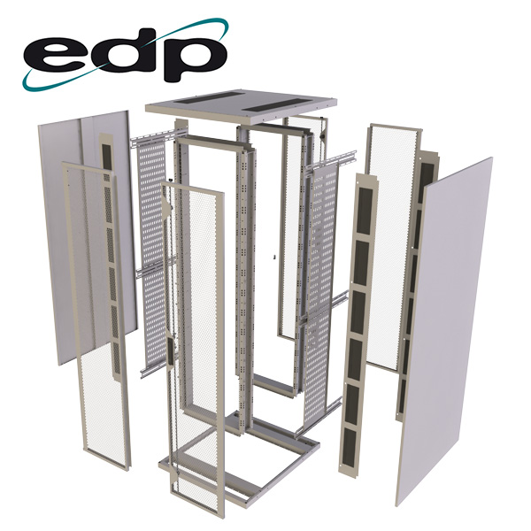 """Exploded view of EDP Europe's flat pack 19"""" cabinet"""
