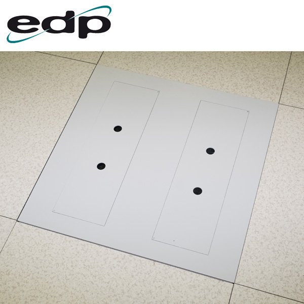 EDP Heavy Duty Brushed Floor Tile in Raised Floor with Both Openings Covered