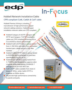 Hubbell Cat6, Cat6A and Cat7 CPR Compliant Network Cable Available from EDP Europe
