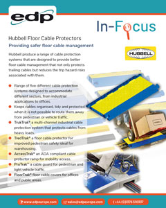 Hubbell Floor Cable Protectors provide safer floor cable management when there are trailing cables across pedestrian and vehicle areas.