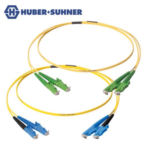 HUBER+SUHNER Single Mode UPC APC LSH E2000 Duplex Patch Cords