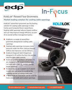 KoldLok Raised Floor Grommets for sealing cable openings in data centre raised floors.