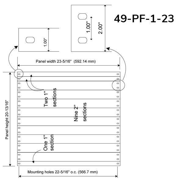 """PlenaFill 23"""" Blanking Panels for 23"""" on-centre mounting rails"""