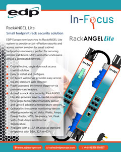 RackANGEL Lite from EDP Europe is a cost-effective, small footprint rack security solution perfect for remote network cabinets and wall boxes