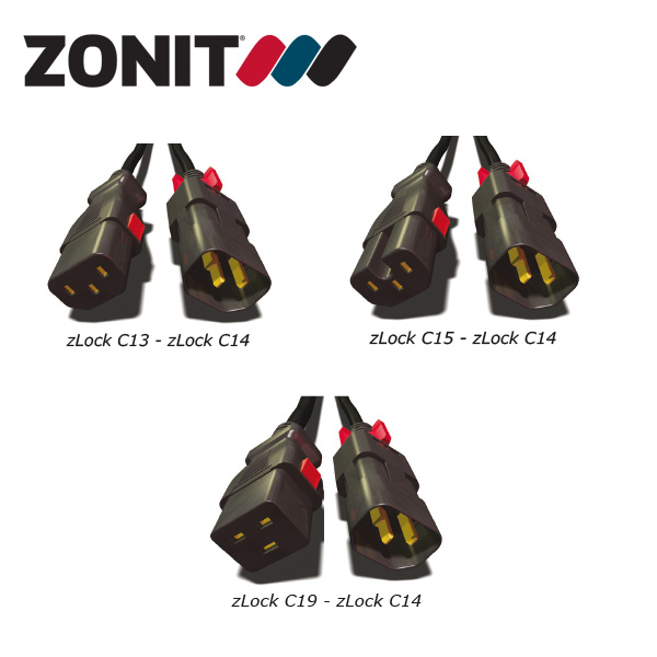 Zonit zLock Locking C14 Type IEC Power Cables