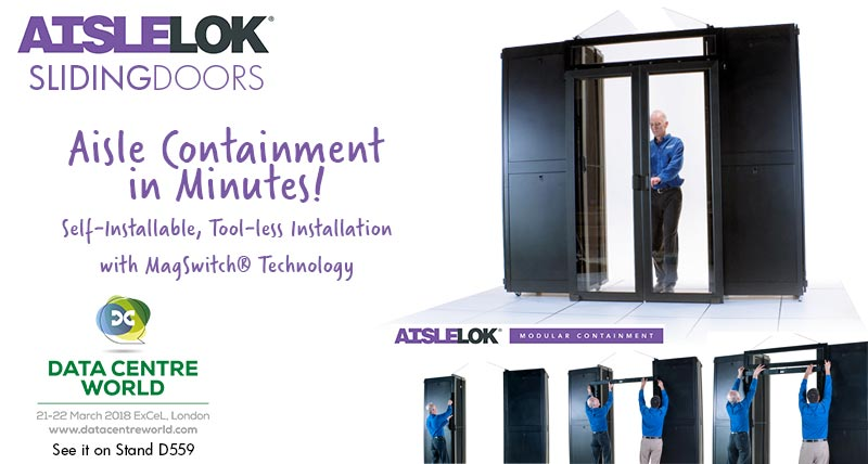 AisleLok Sliding Doors, part of the self-install aisle containment solution. See on Stand D559 at Data Centre World 2018, London ExCeL