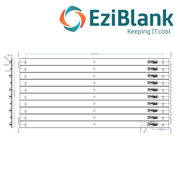 EziBlank 21in SU Blanking Panel Dimensions